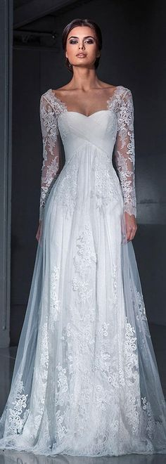 Top 50 Gorgeous Wedding Dresses with Long Sleeves - wedding dresses - cuteweddingideas.com