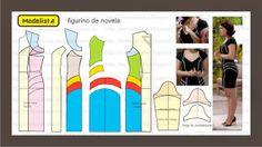 Modelagem de vestido com recortes. Fonte: ModelistA: FIGURINO DE NOVELA