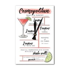 Cosmopolitan - Cocktail Recipe - LP Artwork (Acrylic Wall Clock), Black (Plastic)