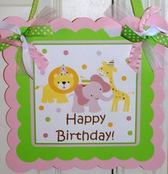 Sweet Safari Pink, Baby Animals, Sweet at One Happy Birthday Banner by The Party Paper Fairy. $25.00, via Etsy.