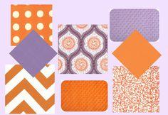 Crib Bedding - 3 Piece Bedding Set - Custom Monogrammed/Personalized - Birds and Berries in Purple - Chevron - Lavender and Orange. $299.00, via Etsy.