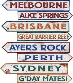 Australian Street Sign Cutouts - Pack of 4 Code: DCSSAU Pack of 4 Australian signs, printed 2 sides with different designs, perfect for any australian party! Each sign measures: x Brisbane, Melbourne, Party Props, Party Signs, Party Themes, Party Ideas, Australian Party, Australian Open, Aus Day