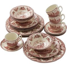 Johnson Brothers Old British 20-pc. Dinnerware Set ($140) ❤ liked on  sc 1 st  Pinterest & Churchill WILLOW Pink Rosa Red England Dinner Plate 10 1/4\