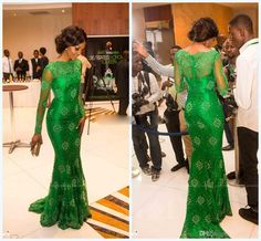 2015 New Sheer Lace Long Sleeves Evening Dress with Bateau Emerald Green Prom Dresses Mermaid Celebrity Vestidos De Fiesta Evening Gowns from Idobridaldress,$98.96 | DHgate.com