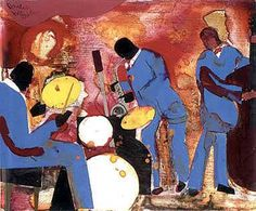 Romare Bearden Foundation Website - The Art of Romare Bearden ...  This painting is hanging in the Time Warner building in the lobby of the Ahmet and Mica Ertegan Jazz at Lincoln Center concert hall.