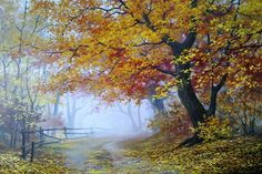 Landscape Illustration, Watercolor Landscape, Landscape Art, Landscape Paintings, Watercolor Paintings, Scenery Paintings, Nature Paintings, Autumn Painting, Autumn Art