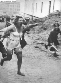 A Jewish woman running screaming through a Lvov street during the pogroms of early July 1941.Ukrainian youths, one holding a stick, are chasing her.On June 30, 1941, Lvov was conquered by the Germans. Pogroms against the Jews began that day, carried out by Ukranian civilians and the German Einsatzgruppe C. The Ukrainians were incited by rumors that the Jews had participated in the murders of Ukrainian political prisoners in the Soviet regime's. In a few days, some 4,000 Jews were killed.