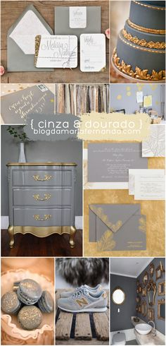 Decoração de Casamento Paleta de Cores Cinza e Dourado | Wedding Inspiration Board Color Palette Grey and Gold