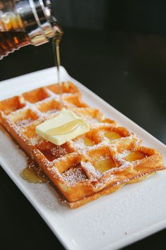 Homemade waffles, topped with warm syrup,  or your favorite topping, fresh fruit like strawberries,  bluberries or even fried chicken wings if you want. Yes Chicken and waffles...a must try!