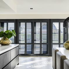 Shutters – Some Styles And Inspiration – The Homeward View Black Shutters, Interior Shutters, Window Shutters, Kitchen Interior, Interior Design Living Room, House Extension Design, Pulte Homes, New Homes, Home Decor