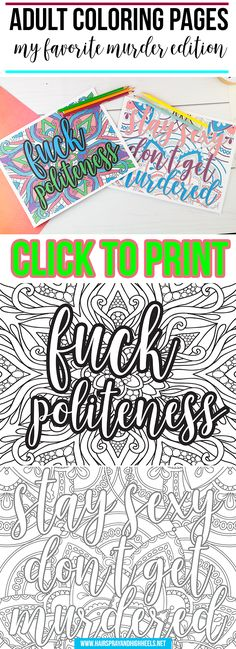 Click through to print your very own Adult Coloring Pages: My Favorite Murder Edition!