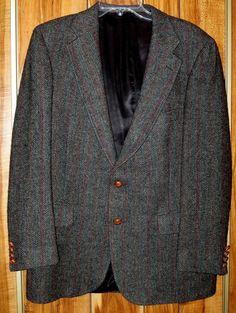 Men's Vintage Chaps by Ralph Lauren Tweed Wool Gray Sports Coat Size 40R Now $12.87