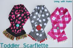 Little girls scarf made from sweater sleeves or adult knee hi socks