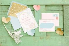 Pastel and mint wedding invitations | City Love Photography | see more on: http://burnettsboards.com/2014/04/pastel-mint-gold-wedding-ideas/