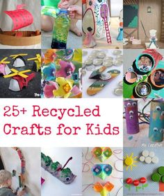 A super fun collection of recycled crafts for kids...you probably already have the supplies in your recycling bin! Don't throw out those craft supplies, make something awesome with them instead. Fun craft ideas for kids and the possibilities are endless.