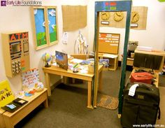 Fabulous travel role play area using lots of scrap materials! Gloucestershire Resource Centre http://www.grcltd.org/scrapstore/