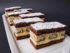 Hartyányi krémes Hungarian Desserts, Hungarian Recipes, My Recipes, Sweet Recipes, Cookie Recipes, Polish Desserts, Cake Bars, Cake Cookies, Food And Drink