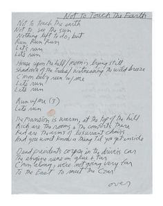 Jim Morrison's handwritten lyrics for 'Not To Touch The Earth'
