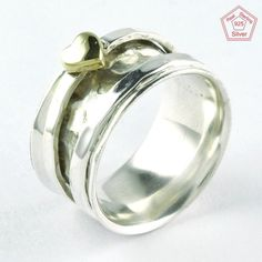 Single Heart Design 925 Solid Sterling Silver Spinner Ring RN5591 For Lovers #SilvexImagesIndiaPvtLtd #Spinner #AllOccasions