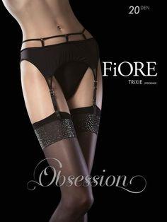 Fiore Tempesta Stockings 20 Denier Back Seam Pattern 1 Pair Black Sheer Leg