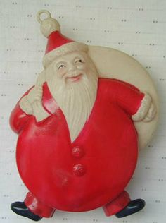 Occupied Japan Celluloid Santa Ornament.