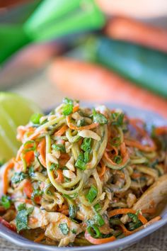 Healthy Thai Peanut Chicken Zucchini Noodles with a fresh peanut lime sauce mixed with veggie noodles makes a perfect light meal and lunch the next day! Read more at: Healthy Thai Peanut Chicken Zucchini Noodles. Best Zucchini Recipes, Veggie Recipes, Asian Recipes, Healthy Dinner Recipes, Chicken Recipes, Cooking Recipes, Healthy Zucchini, Delicious Recipes, Thai Peanut Chicken