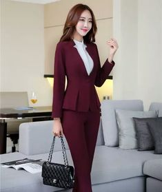 Suits & Sets Cooperative Fall Winter Ladies Navy Blue Blazer Women Business Suits With Pant And Jacket Set Work Wear Office Uniform Styles