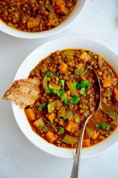Lentil Recipes, Vegan Dinner Recipes, Vegan Dinners, Veggie Recipes, Indian Food Recipes, Vegetarian Recipes, Healthy Recipes, Healthy Food, Lentil Stew