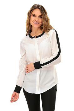 Kocca - Camicie - Abbigliamento - Camicia con collo alla coreana con  inserti bi-color