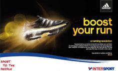 Promoción zapatillas adidas Boost y Supernova en tiendas Intersport: traseras de escaparate, urna y vales para la promoción y speaker....