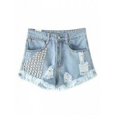Choies Blue Studs Ripped Raw Hem Denim Shorts ($28) ❤ liked on Polyvore featuring shorts, blue, blue shorts, blue denim shorts, denim short shorts, ripped jean shorts and studded jean shorts