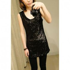 Casual Slimming Fit Scoop Neck Sequin Embellished Chiffon Long Vest for Women Long Vests, Sammy Dress, Black Tank Tops, Chiffon, Scoop Neck, Sequins, Formal Dresses, My Style, Fitness