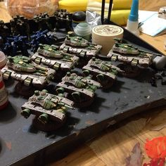 4x Humanist Alliance (Southern) Hetairoi hovertanks and 3x NuCoal Fusilier hovertanks from Heavy Gear Blitz painted by Jordan Louis http://instagram.com/p/rGIbh_uJtZ/