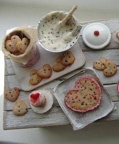 Dollhouse miniature Valentines cookie baking