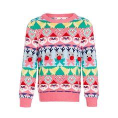John Lewis . Festive Fairisle Jumper . { merry & bright . festive fairisle knit . with pompom noses ! perfect for your little girl . for Christmas Jumper Day } .