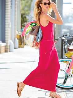 Dress up downtime in the lounge-loving Maxi Dress from Victoria's Secret. With a fluid drape and drawstring waist. Featuring supersoft cotton for effortless cool. Off-duty. Every day. Any way…in our Supermodel Essentials.