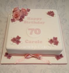 """70th Birthday Cake with sugar roses and hydrangea flowers. 10""""  square chocolate fudge cake with chocolate ganache #cavendishcakes #wirral"""