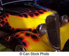 hot rod - flamed vintage hot rod