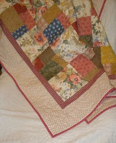 Patchwork Quilt Country Cottage  Lap Size by paintedquilts on Etsy, $179.00