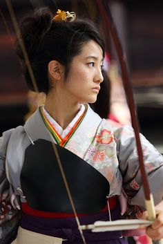 Traditional female archer at Sanju-sangen-do Temple, Higashiyama, Kyoto, Japan.