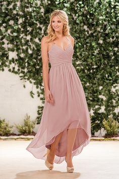 B183057 V-neck Poly Chiffon High-Low Bridesmaid Dress b2a4d18ad712