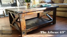 "The Athens 43"" is our latest table in our rustic furniture collection. With it's X braces and metal hardware, this table has loads of character. Finished in a dark walnut stain with a satin polyurethane. Dimensions: 43""L x 27""W x 18""H"
