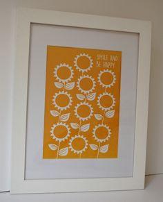Sunflowers Print £15.00 Sunflower Print, Cheer You Up, Sunflowers, Fine Art Paper, Mustard, Handmade Items, Joy, Retro, Drawings