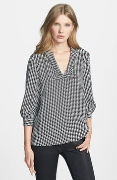 'Adena' mini-houndstooth print silk blend smock top from Kate Spade New York, available at #Nordstrom, Spring 2014.