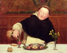 Food; Drink; Wine; Carafe; Crab; Dining; Holy; Tonsure; Flowers; Salt; Domestic; Pouring; Dominican; Friar; Monk Painting - The Monks Repast by Walter Dendy Sadler