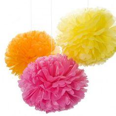 Pom Dekokugel - orange, gelb, rosa  Engel