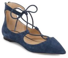 Saks Fifth Avenue Estyn Suede Lace-Up Point-Toe Flats on ShopStyle
