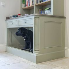 No detail is overlooked at BTKF, we even included room for a dog bed in this bespoke family kitchen! Dog Nook, Dog Cabinet, Small Utility Room, Kitchen Booths, Dog Spaces, Dog Corner, Cool Dog Houses, Dog Furniture, Dog Shower