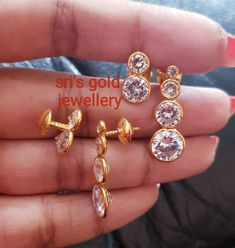 Gold Rings Jewelry, Jewelry Design Earrings, Gold Earrings Designs, Gold Jewellery Design, Beaded Jewelry, Gold Earrings For Kids, Simple Earrings, Gold Jhumka Earrings, Antique Jewellery Designs