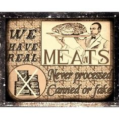 Butcher shop fresh meat sign / retaurant deli diner kitchen vintage retro Wall decor